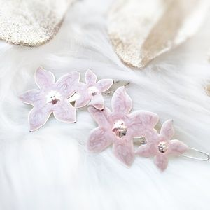 Snap Hair Clips (2)•Silver Metal•Pink Resin Flower
